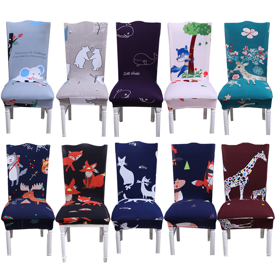 Modern Cartoon Bear/Fox/Elephant Printed Chair Cover Kitchen Slipcover Removable Anti-dirty Dinning Seat Covers For Home/Kids