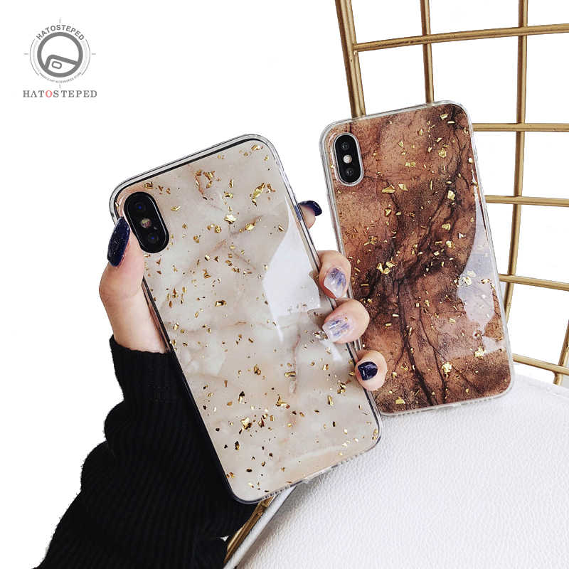 Glossy Marble Phone Case For Iphone 7 6s Cover Case For Iphone X XS 6 6S 7 7plus 8 8plus Soft Bling Gold Foil Phone Case