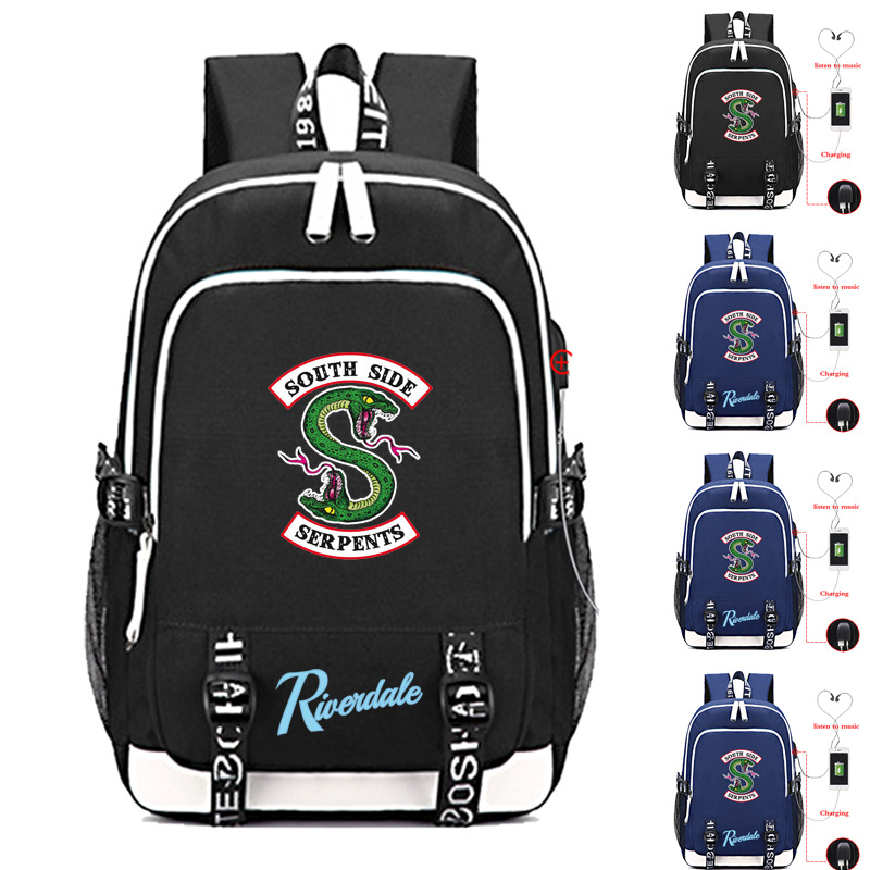 New Riverdale Cosplay Prop Serpent Backpack Teen School Bag Multi-function Shoulder Bags Large Capacity Rucksack Travel Knapsack