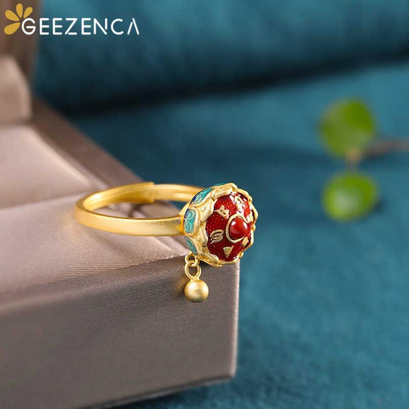 925 スターリングシルバーゴールドメッキ七宝瑪瑙蓮の玉座リングオープンヴィンテージ中国風の宝石用原石リングファ女性