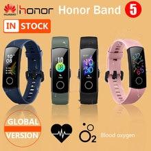 Pulseira inteligente honor band 5, bracelete inteligente com monitoramento da frequência cardíaca e oxigenação do sangue, versão global, bluetooth