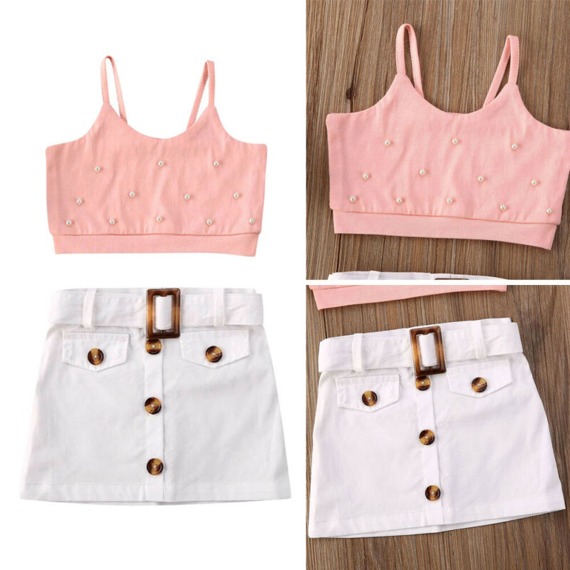 Kids Toddler Baby Girl Holiday Summer Sling Imitation Pearl Cropped Top Button Belt Skirt Outfit Set Clothes 6M-5Y