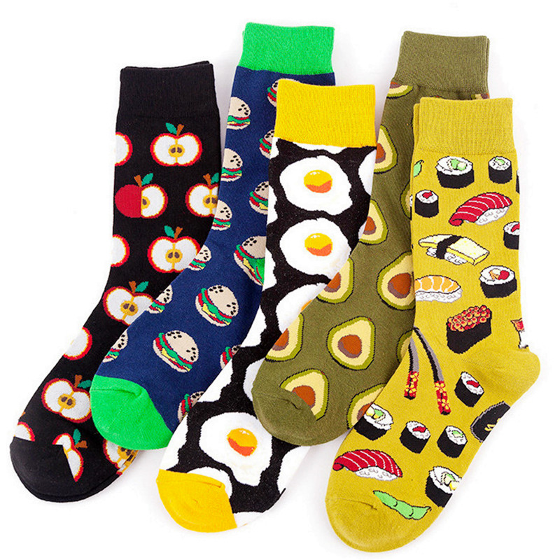 Avocado Pattern Casual Cotton Crew Socks Cute Funny Sock,great For Sports And Hiking