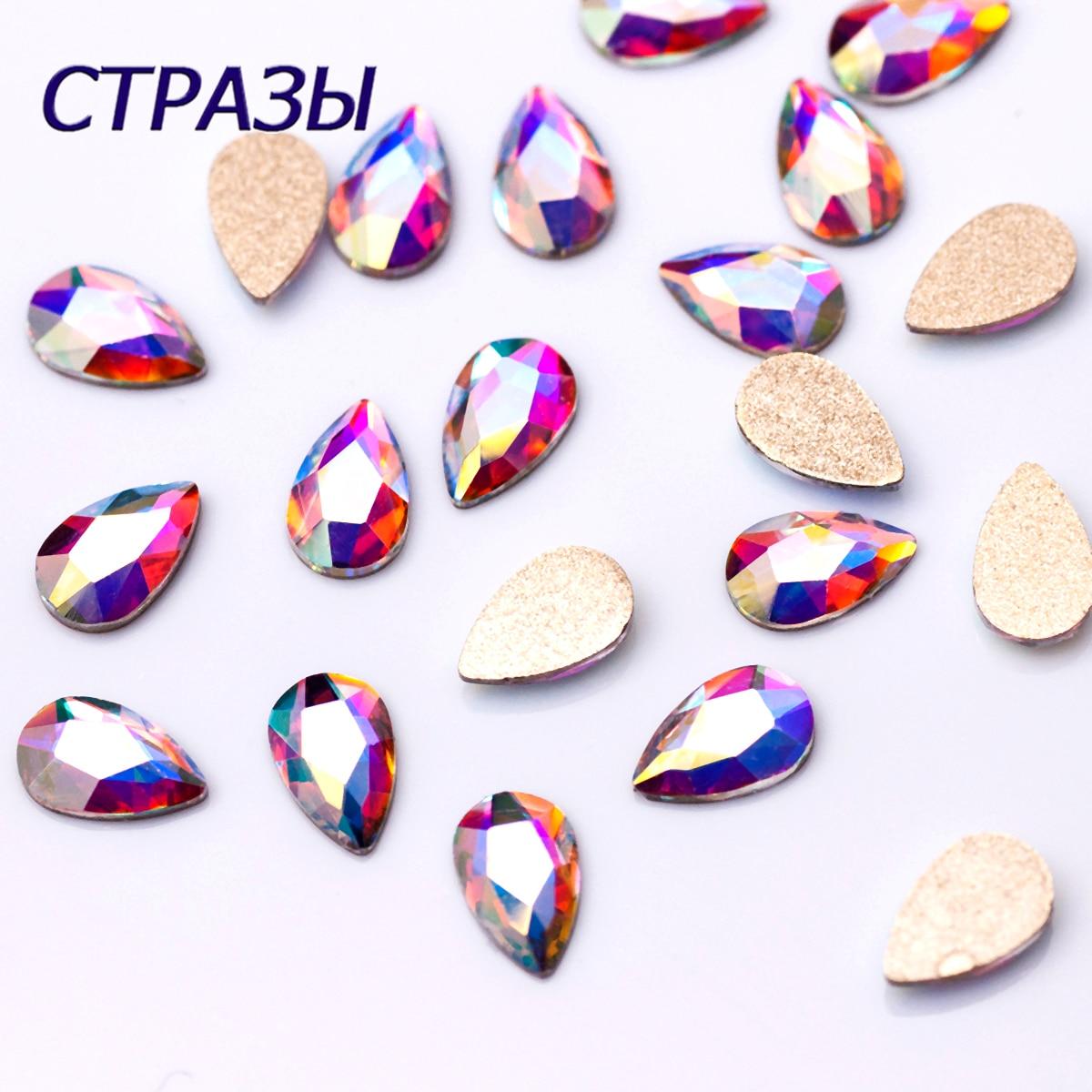 20PCS TOP Quality Strass Korean Fashion 3D Nail Art Rhinestone Pear Flatback Pixie Crystal Stones For DIY Nail art Decoration
