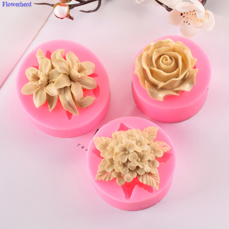 Lilac Rose Lily Fondant Silicone Mould Gypsum Cake Decorating Diy Chocolate Baking Tools 3d Silicone Mold Handmade Soap Mold