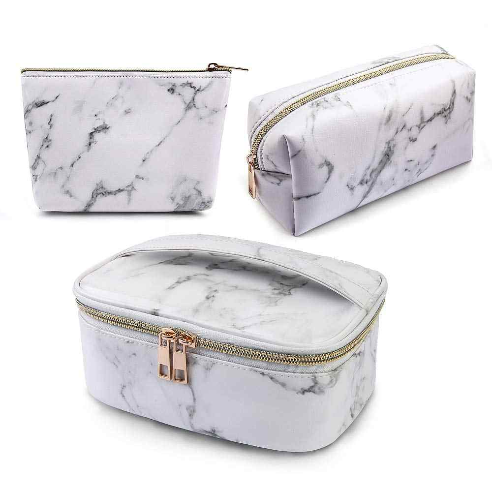 MAANGE 1/3Pcs Makeup Bags Portable Travel Cosmetic Bag Waterproof Organizer Multifunction Case Marble Toiletry Bags for Women