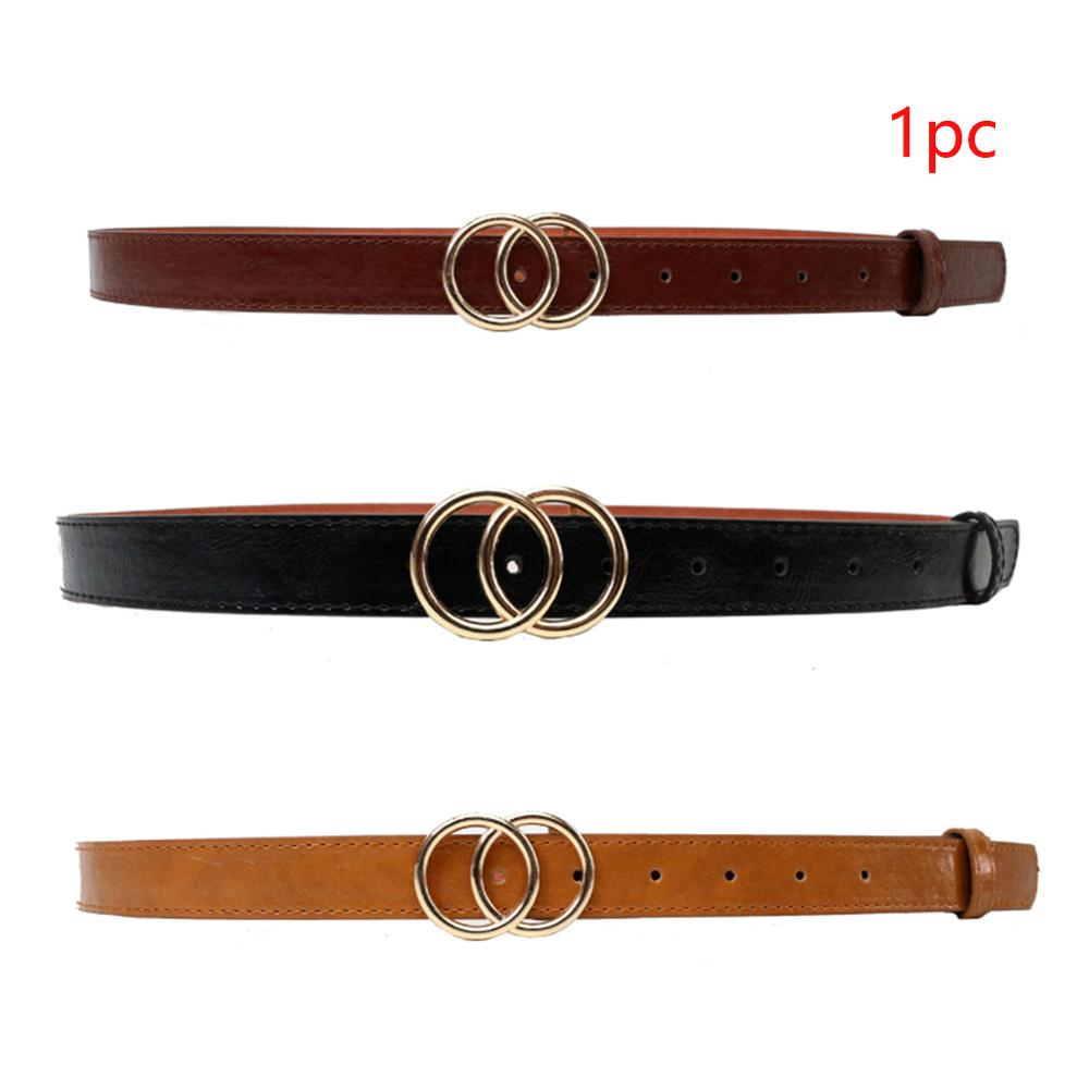 Female Soft Faux Leather Double Ring Buckle Vintage Decorative Casual Tighten All Match Lightweight Long Women