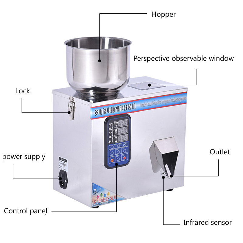 110V 220V Granule Powder Filling Machine Automatic Weighing Machine Medlar Packaging Machine for Tea Bean Seed Particle
