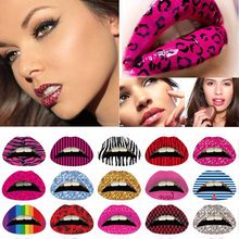 3Pcs New 3D Art lips sticker Glitter Pink sexy pattern makeup tattoo lip stickers Makeup Tools Wholesale(China)