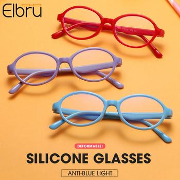 Elbru dzieci okrągłe okulary ramka silikonowe okulary do niebieskiego światła moda lekkie okulary dla dziewczynek chłopiec okulary z przezroczystymi szkłami tanie i dobre opinie Z tworzywa sztucznego Unisex 41mm 36mm Eyewear Reading Glasses
