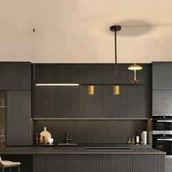 Nordic Led Hanglamp Art Decoratie Black + Gold Glans Strip Opknoping Licht Voor Eetkamer Woonkamer Keuken Home Decor armaturen