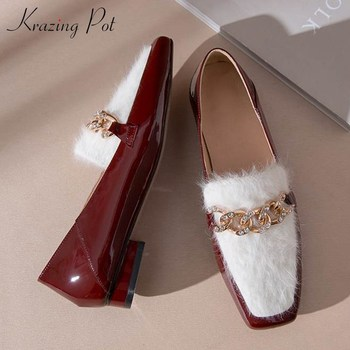 Krazing pot new French elegant fashion mixed colors cow leather shoes square toe crystal metal decorations low heels pumps l00