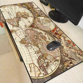 Mairuige Extra Large Speed Mouse Pad Old World Map Gaming Mousepad Anti-slip Natural Rubber Mat with Locking Edge