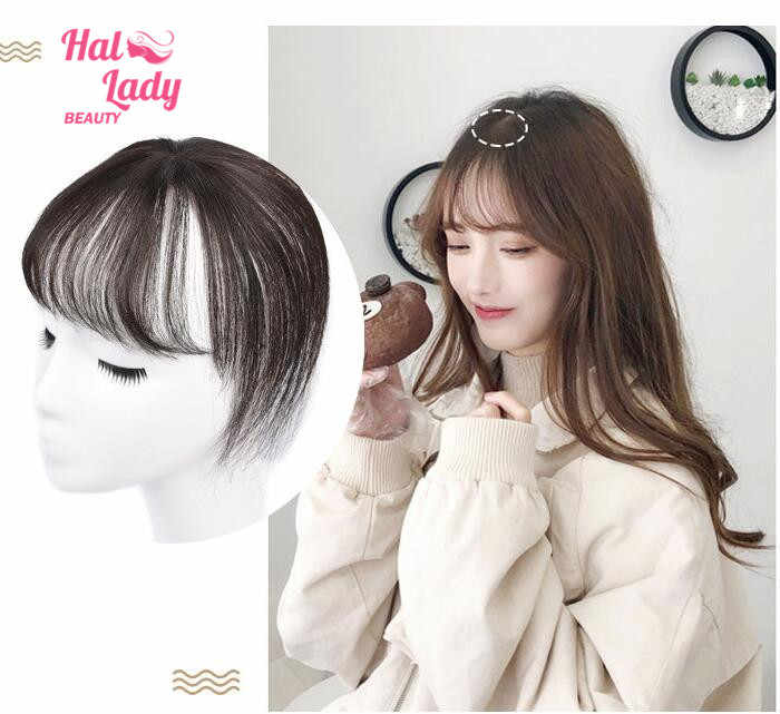 Halo Lady Beauty 360 Natural Human Hair Fringe Clip Bangs Transparent Lace Air Bangs Clip In Brazilian Hair Non-remy For Women