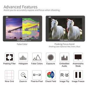 Image 5 - FEELWORLD P7 7 אינץ IPS 2200nit Ultra בהיר מצלמה שדה צג 4K HDMI DSLR צג אלומיניום דיור עם סוללה DC פלט