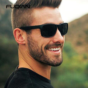 FUQIAN 2020 Fashion Square Polarized Sunglasses Men Vintage Plastic Male Sun Glasses Stylish Black Sport Shades UV400
