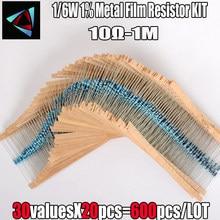 600pcs/set 30 Kinds 1/6W 1% Metal Film Resistor Pack Assorted Kit 1K 10K 100K 220ohm 1M Resistors