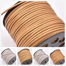 5 м/лот блестящий 3 мм двусторонний плоский плетеный шнур из искусственной замши Корейский Бархатный кожаный браслет для изготовления ювелирных изделий