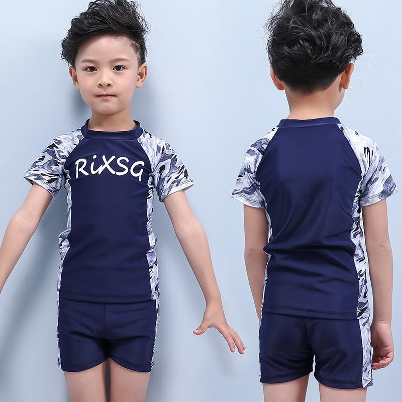 2019 Новый стильный купальник для мальчиков, Раздельный пляжный солнцезащитный детский купальный костюм, камуфляжный детский купальник