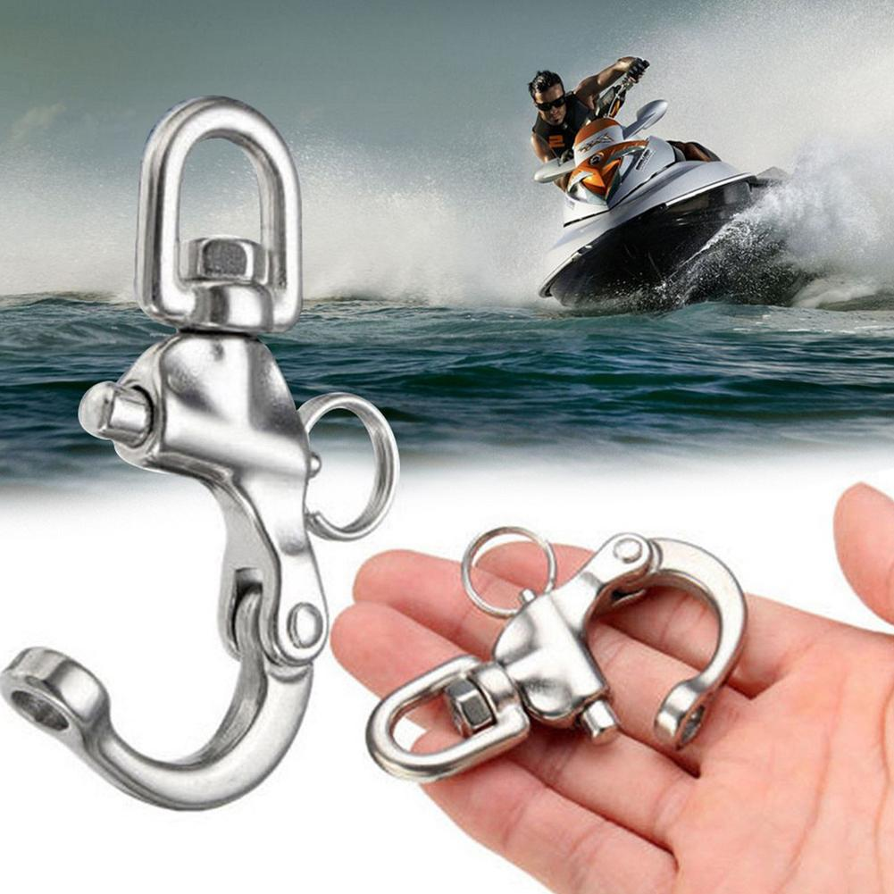 70mm Spring Buckle Swivel With Snap-shackle Panic Hook Eye-Fork 316 Stainless Steel Openable Keyring Practical Accessories