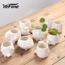 YeFine Creative Ceramic Flowerpot Planter Bonsai Garden Pots Planters Jardin Bonsai Desk Succulent Flower Pot Cute Animal Pots