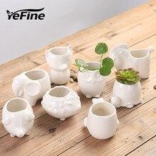 YeFine Pot de fleurs en céramique, Pot à bonsaï créatif, Pots de Jardin, bonsaï pour bureau, Pot de fleurs Succulent, mignons animaux