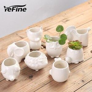 Image 1 - YeFine творческий керамический цветочный горшок, горшок для бонсай, садовые горшки, сад, бонсай, стол цветочный горшок для суккулентных растений милый горшочки с животным