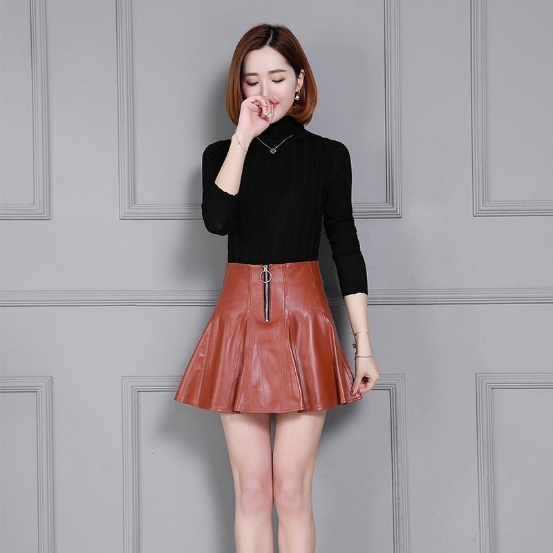 Top Quality Natural Leather Womens High Waist Pleated Skirts Laides Slim Fit Plus Size 4XL High Street Sheepskin Short Skirts