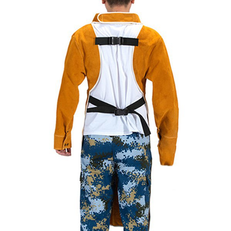 Leather Cowhide Leather Sleeves Welding And Welder Apron Apron Welding 85CM Size Adjustable With With Refractory