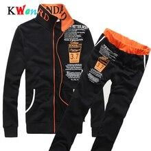 Sportswear New Men Tracksuit Set Winter Fleece Hooded Zipper Jacket+Pants Sweatshirts 2 Piece Set Hoodie Sporting Suit Coat Set