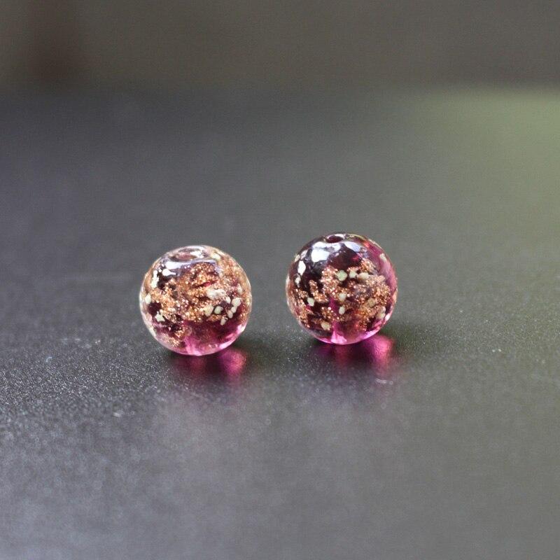 10PCS 10mm12mm Luminous&Non-luminous Lampwork Glass Beads Handmade Shinning Powder Purple Color Loose Beads For Jewelry Making