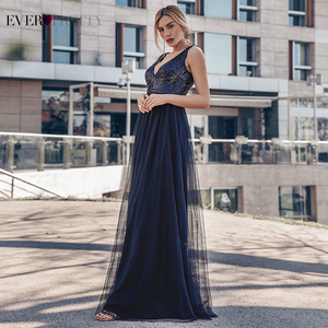 Image 2 - Evening Dresses Long Ever Pretty EP07840 Sexy Deep V neck Beading Sequined Sparkle New Formal Party Gowns 2020 Abendkleider