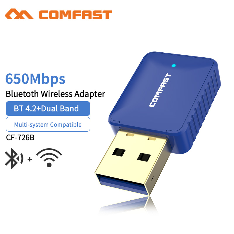 10pcs 5.8Ghz Mini USB 650Mbps Dual Band Wireless Wifi Adapter Dongle Receiver Network LAN Card PC Bluetooth 4.2 Transmit Receive