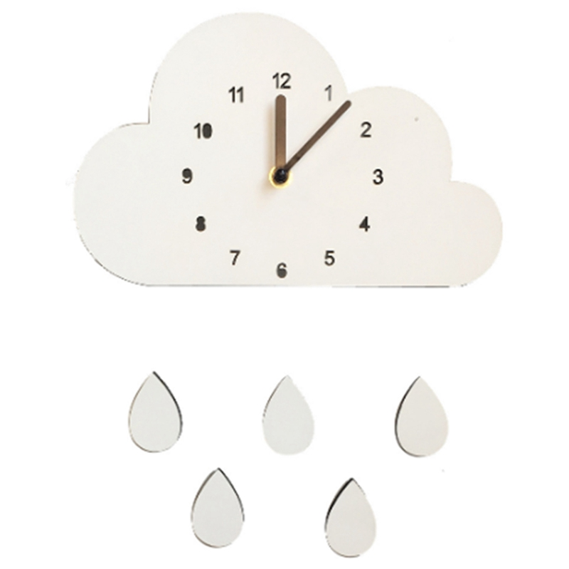 Nordic Style Nursery Clock Wooden Cloud Water Droplets Clock Wall Hanging Decoration Wall Decor Kids Children'S Room Decor Wall