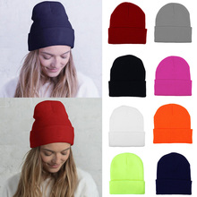 цена на Women Men Knitted Ski Skullcap Warm Winter Hats For Women Solid Colour Hip-hop Hat Casual Cuffed Beanies Bonnet Elastic Hats D35