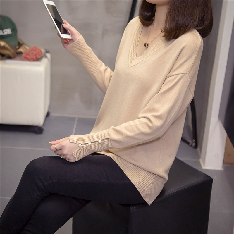 Plus Size V Neck Knitted Pullover Women 2019 Autumn Fashion Pearl Long Sleeve Sweaters Oversize Jumpers Korean Ladies Knitwear