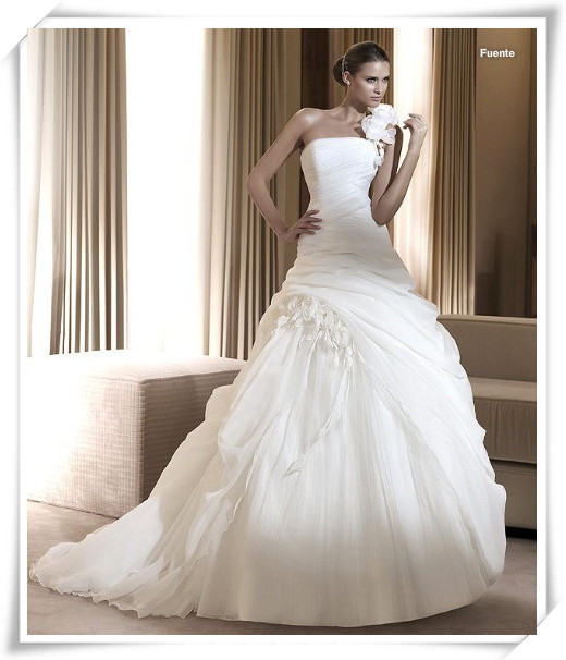 Free Shipping Vestido De Noiva Renda Flower Organza Romantic 2018 New One Shoulder Long Bridal Gown Mother Of The Bride Dresses