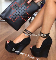 Women Super Sexy Peep Toe Suede Leather High Platform Wedges Black Nude Ankle Straps Wedge High Heels Formal Dress Shoes