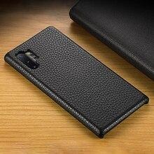 Prawdziwej skóry dla samsung A70 A40 S9 S10 uwaga 10 S6 S7 krawędzi Plus skóry wołowej przypadku telefonu s20ultra przypadku pół paczka liczi wzór