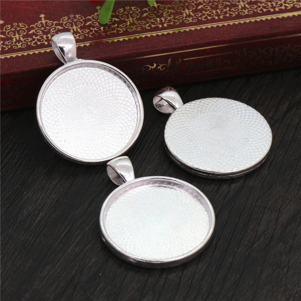 New Fashion 10pcs 25mm Inner Size Silver Plated Classic Style Cabochon Base Setting Charms  Pendant (A5-07)