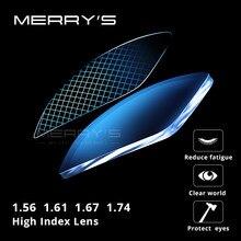 MERRYS Anti Bloqueo de luz azul lente B2 de la serie 1,56 de 1,61 de 1,67 gafas graduadas ópticas lente miopía hipermetropía delgada HMC lentes