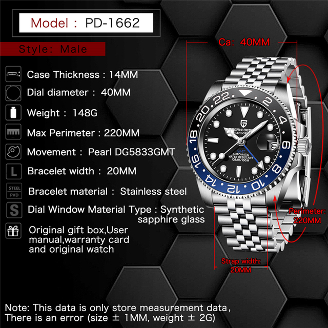 PAGANI DESIGN 40mm GMT Men's Mechanical Watches 100M Waterproof Top Brand Sapphire Glass Stainless Steel Business Men's Watch 4
