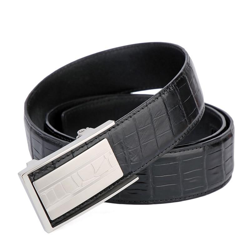 Authentic Crocodile Skin Automatic Buckle 38mm Wide Men's Fancy Belt Genuine Alligator Leather Stainless Steel Male Waist Strap
