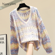 Thin V-neck Rainbow Sweater Loose Female Autumn New Knitted Jumper Women's Long Sleeves Hollow Sweater Jacket Student Pullovers burgundy v neck long sleeves causal loose jumper