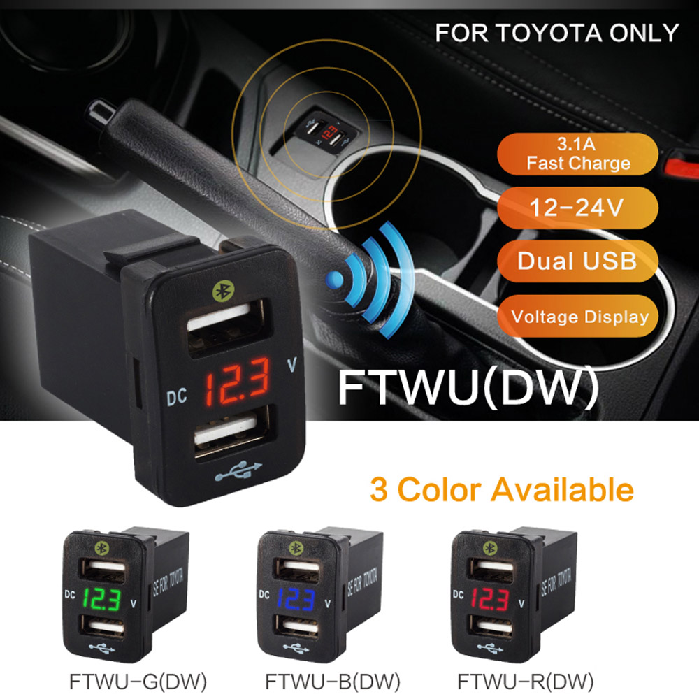 Car Accessories Interior Auto Gps Tracker Toyota Corolla Location Parking Car Charger 12V 24V Dual Usb Voltage Monitoring Voltme