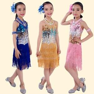 Image 2 - Dança latina crianças adulto sequin franja palco desempenho competição dança de salão traje dança latina vestido para meninas