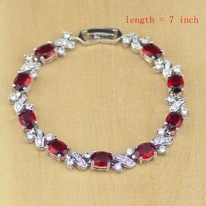 Image 2 - סגלגל אדום CZ לבן זירקון 925 כסף סטרלינג נשים חתונה עגילים/תליון/שרשרת/טבעות/צמיד