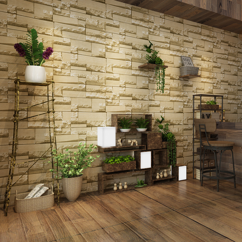 Modern Nonwoven Fabric Brick Pattern Wallpaper 3D Model Brick Wall Wallpaper Clothing Store Cafe Internet Cafe
