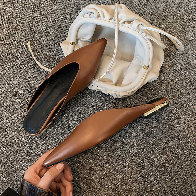 ผู้หญิงล่อ SLIP บนรองเท้าหนังแท้รองเท้าแตะแฟชั่นรองเท้าแตะฤดูร้อนชี้ Toe Elegant Bow สุภาพสตรีรองเท้า