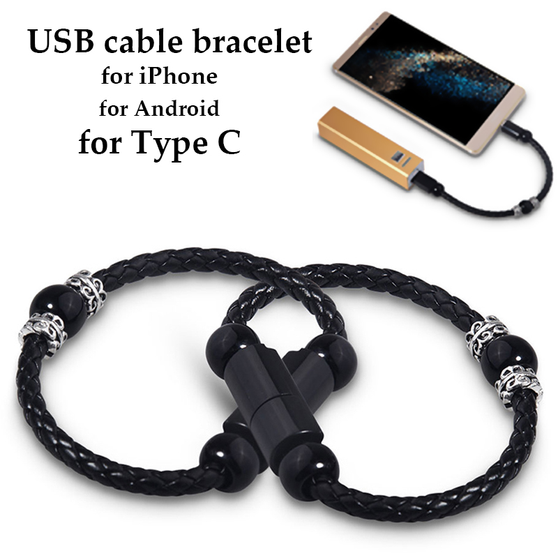 Bracelet USB Cable Apple Type C Micro USB Cable For iPhone 6 7 8 Plus X xiaomi mi 10 <font><b>Samsung</b></font> <font><b>S9</b></font> S8 Mini Leather Android <font><b>Charger</b></font> image
